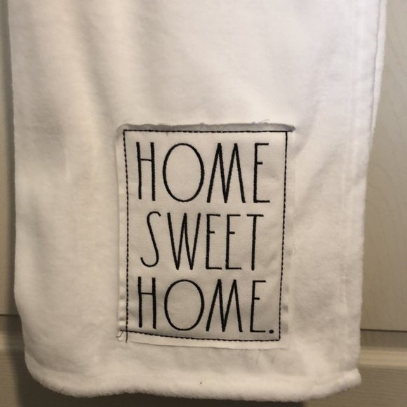 """Rae Dunn Plush Throw with Patch """"Home Sweet Home"""""""